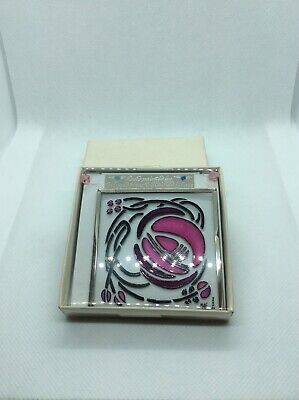 "Stained Glass Square Panel, ""Windyhill Pink"" hand-painted, by Winged Heart"