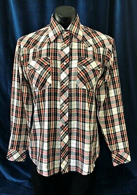 True Vintage 70's Costume Check Plaid Polyester Cotton Western L/S Shirt M-L