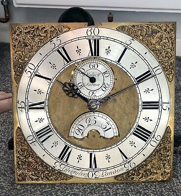 Rare Late 17th C. London Musical 30hr Verge Longcase Clock Movement and Dial