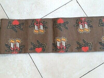 Brown Swedish hessian printed Christmas table runner with candles