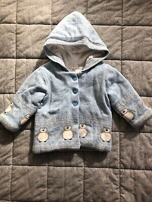 Baby Boys Purebaby Padded Winter Jacket with Hood Size 0 (6-12mths)