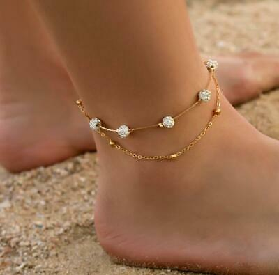 Women Girls Ankle Bracelet Crystal Round Ball Anklet Foot Chain Boho Beach Beads