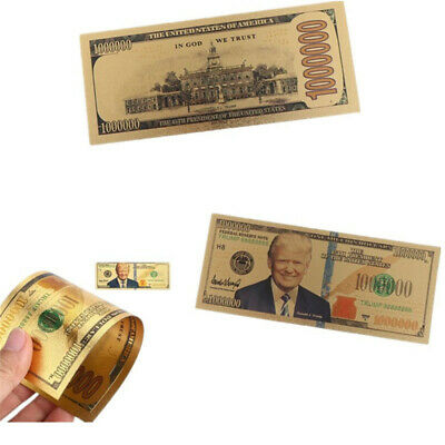 1Pc Antique gold plated realistic Donald Trump dollars banknotes de~GN