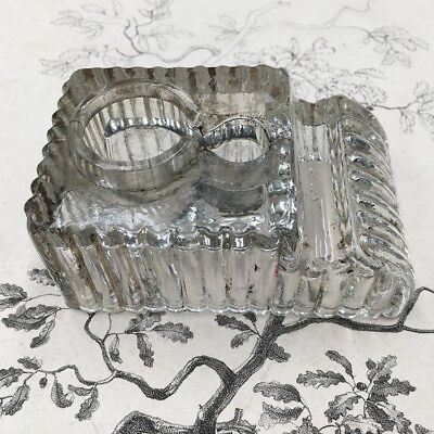 Inkwell Antique Glass Moulded - Glass Inkwell