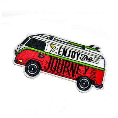 """2PC""""ENJOY JOURNEY"""" VW Bus Outdoor Camper Vintage Appliqué Sewing Iron on Patch"""
