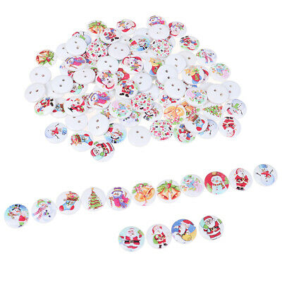 50Pcs Random Mixed Christmas Pattern Wooden decorative Buttons For Sewing De~GN