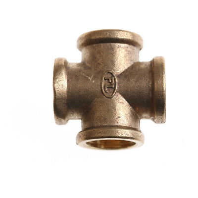 """1/2"""" BSP Female Thread 4 Way Brass Cross Pipe Fitting Adapter Coupler Connec~GN"""