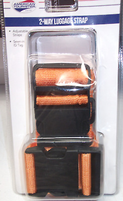 American Tourister 2-way  Luggage Strap Orange Black adjustable up to 74 inches