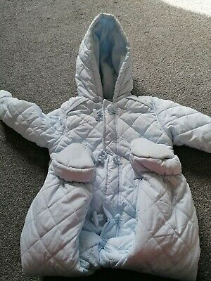 Boys Baby Blue Mothercare snowsuit 12-18 months. Cosy. Detachable mitts.
