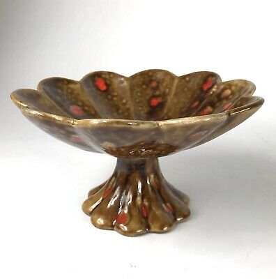 Vintage Brown Mid Century Modern Pedestal Candy Dish Ceramic  Orange Atomic