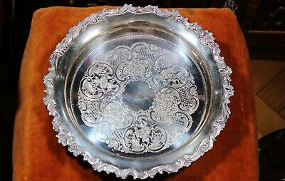 """Vintage Footed Silver Plated Serving Tray 12"""" x 2.75"""", 3.2 lb"""