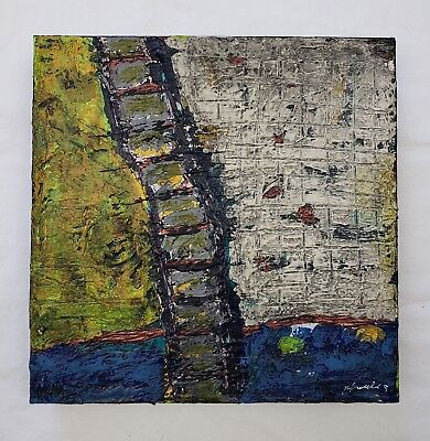 The Way Out - Original Abstract Painting Mixed Media Art ~ Repurposed Canvas 9X9