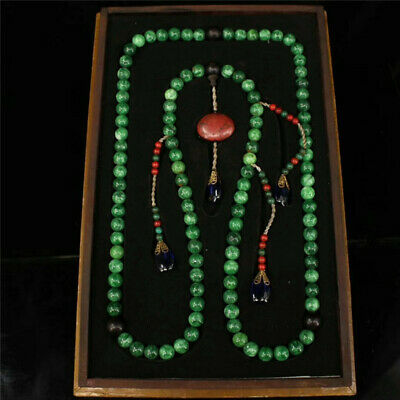 """China green Jade beads Official clothing""""Chao-Zhu""""necklace & lacquerware Box"""