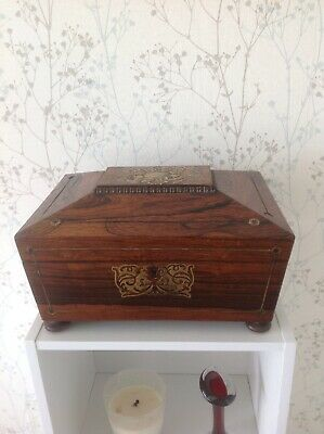 A Stunning William 4th Brass Inlayed Sewing Box Dated 1831 A/F