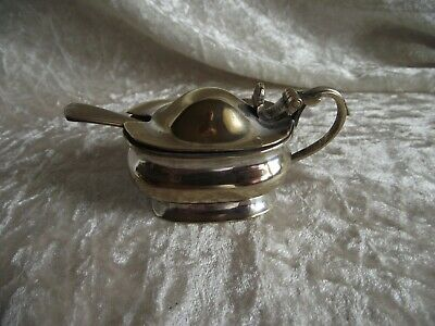 Vintage silver plated Salt or Mustard pot with spoon