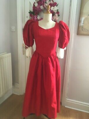 """Vintage Theatrical Red Silk Dress, 38"""" bust"""