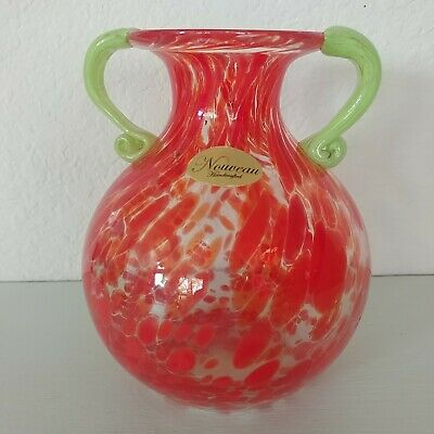 "Mottled Red Art Glass Vase Nouveau Handcrafted Green Applied Handles 5 1/2"" tall"