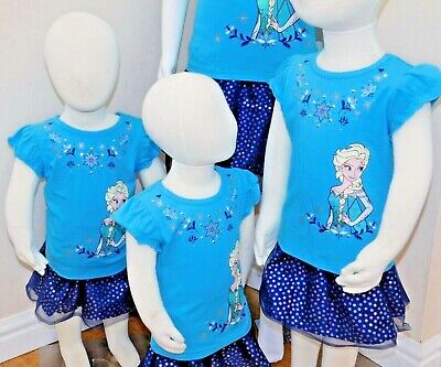 Disney Frozen Little Girls 2-Piece Elsa T shirt & Scooter Skirt Set OFFICIAL DIS