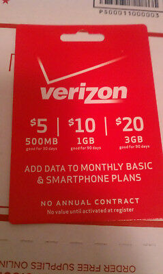 Verizon Wireless $5 Data Add On Refill Card Prepaid Phones. Mail Delivery