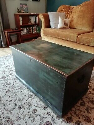 antique pine blanket box,Original painted Finish industrial Chest