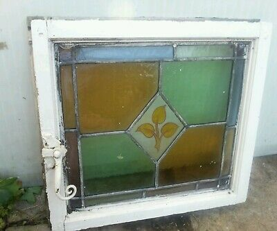 Stained glass hand painted victorian side opening   window .leaf design. BIRM UK