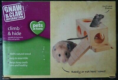 Hamster, Mouse, Gerbil Natural Wood Climb & Hide Gnaw Toy