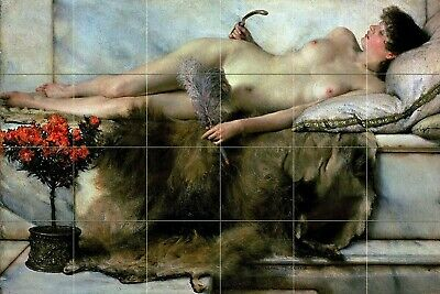 Nude girl marble flower tile L. Alma-Tadema mural backsplash art