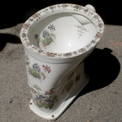 ANTIQUE c1890 COLOURFUL FLORAL TOILET WASHOUT CLOSET JOHNSON BROS