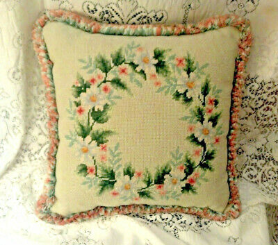 Vintage Flowers Needlepoint With Fringe Throw Pillow - Exc Cond.