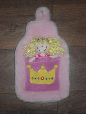 Girls Fluffy Hot Water Bottle Cover Pink Princess 3D Raised Design