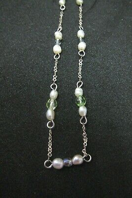 Dainty Vintage necklace, perfect for layering- pearl, purple, green stones, 925