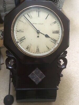 Antique Victorian Drop Dial Fusee Wall Clock 'Stringer Of Stourbridge'