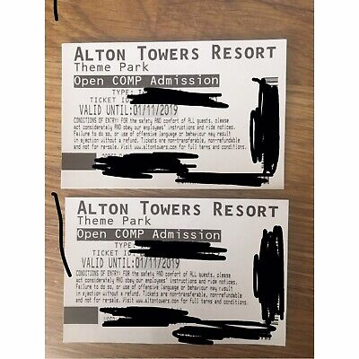 Alton Towers Tickets X 2 Open Admission Valid Until 01/11/2019 Visit Any Day!
