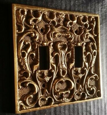 Vtg. Solid Brass Double Light Switch Plate Cover