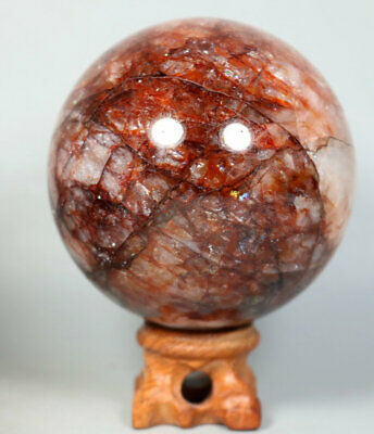 520g RED FIRE QUARTZ Hematoid Crystal Polished Palm Stone Ball Healing Stand
