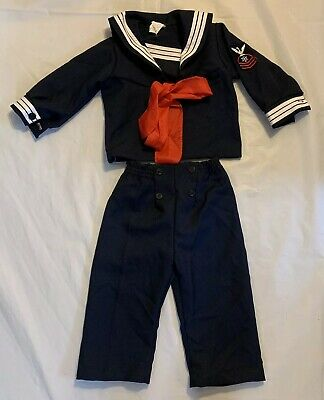 Vintage R Gee Originals Navy Sailor Shirt Pants Costume Size 3T Baby Toddler