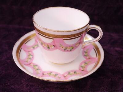 Minton Cup & Saucer, Hand Painted Swags of Roses - Circa 1856, Tooled Gilding #2