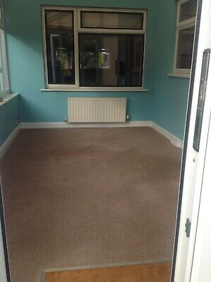 Carpet piece room size -Hessian backed, wool mix, beige colour with underlay