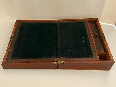"Antique Early 1900's Wood Lap Travel/Writing Desk Slope Velvet 12"" x 9"""