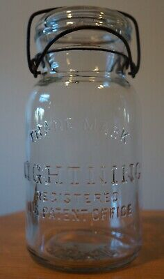 Antique Clear Glass Putnam Trade Mark Lightning Mason Jar No. 26