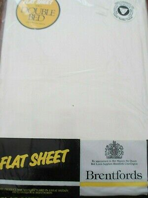 Brentfords Plain Dyed Flat Bed Sheets Cream/Ivory Double size NEW