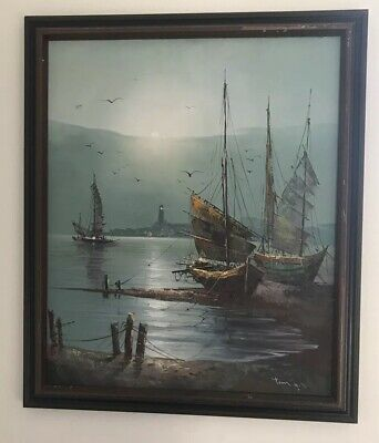 Beautiful Asian oil on canvas paintings of Old Fishing Boats Unknown Artist