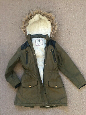 Young Dimension Khaki Green Fleecy Hooded Parka 8-9 Years 134cm