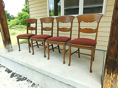 c1920 Antique Set of 4 Solid Oak Splat Back Dining Chairs Upholstered