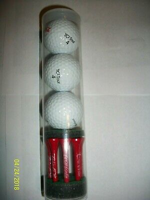 NEW Coca-Cola White Golf Ball & Red Golf Tee Package Bundle 3 balls and 9 tees