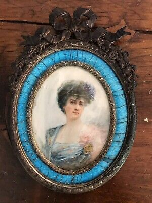 Antique French Blue Guilloche Gilt Bronze Ormolu Frame & Hand Painted Portrait