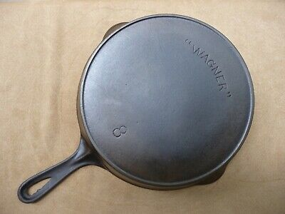 """"""" WAGNER """" # 8 Skillet - Outside Heat Ring - Arched Logo - Cast Iron"""