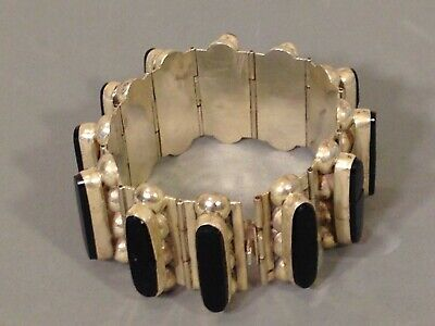 Vintage Taxco Mexico Mexican Sterling Silver Hand Hammered Cuff Bracelet 24997