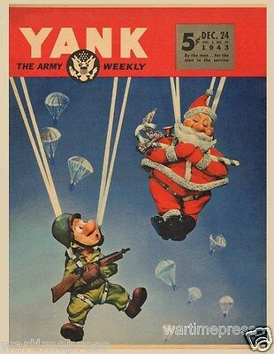 Lot of 5 New Postcards, YANK Magazine's Santa and Pvt. Snafu as Paratroopers