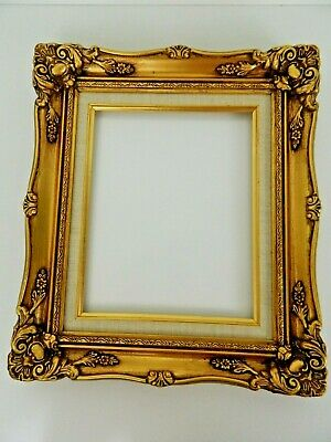 Vintage Ornate Gold Gilt Gesso Liner Scroll Wood Picture Frame 14.5 x 12.5 inch